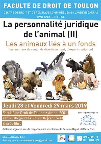 fondation brigitte bardot parrainage animation colloque toulon personnalité juridique animal