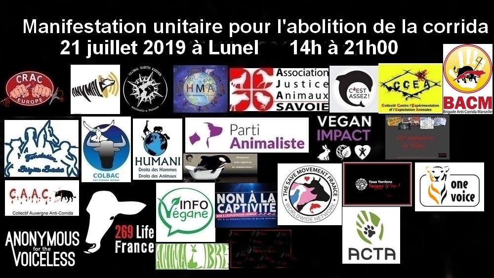fbb crac manifestation unitaire abolition corrida juillet 2019 lunel